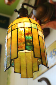 Antique Art Deco Glass Shade Wall Sconce Fixture c. 1930's-40's rewired