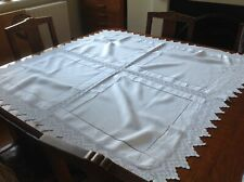 Vintage White Linen Tablecloth With Drawstring And Crocheted Detail
