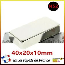 1X AIMANT NEODYME RECTANGLE 40X20X10mm N52