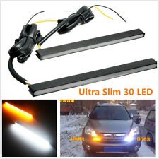 2pcs Ultra Slim Switchback White/Amber Lights 30LED DRL Daytime Running Fog Lamp