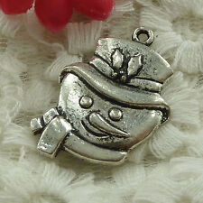 free ship 30 pieces Antique silver snowman charms 30x21mm #2700