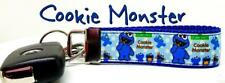 "Cookie Monster Key Fob Wristlet Keychain 1""wide Zipper pull Camera strap"