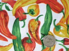 RED HOT CHILI PEPPER WHITE SPICY MEXICAN SALSA TEX SEW CRAFT DECOR FABRIC BTHY#
