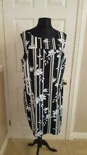 Black and white stripe / floral linen blend shift tunic dress Size 20 Petite NWT