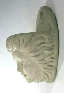 Vintage Concrete Stone Lady's Head Bust Cast-Stone Garden Wall Planter
