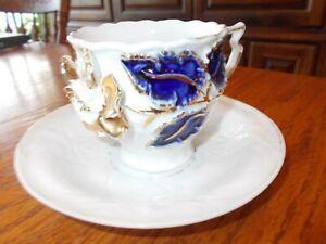 Vintage White Porcelain  Cup &  Saucer, Raised Ornate Gold & Blue Flower Design