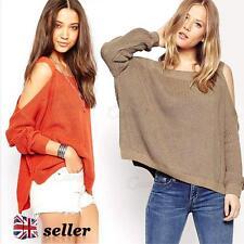 Damen langärmlig Schulterfrei Pullover Baggy gestrickt Kleidung Frühling grob