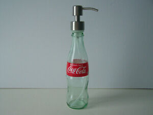 Coca Cola 8oz. Glass Bottle Soap/Lotion Dispenser With Brushed Nickel Soap Pump