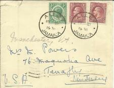 Jamaica SG#89a,#108(x2) ALLEY MY/21/1936 to USA, redirected, backstamped