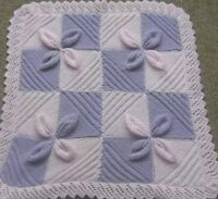 Baby blanket knitting pattern to knit leaf square car seat vintage pram cover