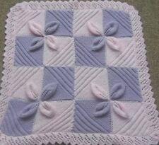 Baby blanket knitting pattern to knit leaf square car seat vintage pram cover