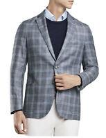 NWT $1K Peter Millar Blazer Crown Soft Plaid Iberian Blue Sport Coat Size Medium
