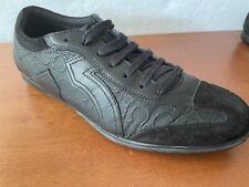 Pre Owned Salvatore Ferragamo Black Gancio Embossed Leather Sneakers 9.5EE