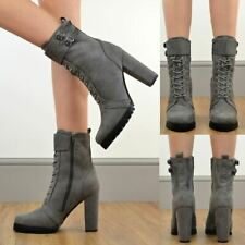 Womens Heels Ankle Boots Chunky Thick Sole Zip Up Winter Designer Shoes Size New