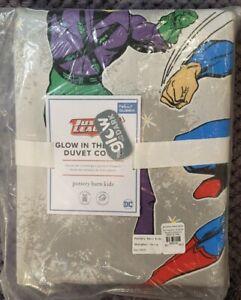 Pottery Barn Kids Glow-in-the-Dark Justice League Duvet, Full/Queen, Grey Multi