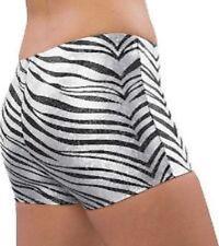 Pizzazz 2600ZG Women's Size Large White Zebra Glitter Shorts