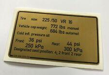 Étiquette la Pression des Pneus US, Pour Porsche 928 - Autocollant Pneu Pressure