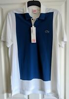 "NWT AUTHENTIC WHITE & BLUE LACOSTE PIQUE POLO SHIRT. SIZE 5 - LARGE. 40"" CHEST."