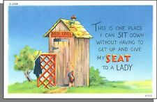 40's Comic Postcard #47213 - The One Place I Can Sit Down Without Having To Get