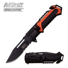 Spring-Assisted Folding Pocket Knife Mtech Orange Black Led Light Serrated Edc
