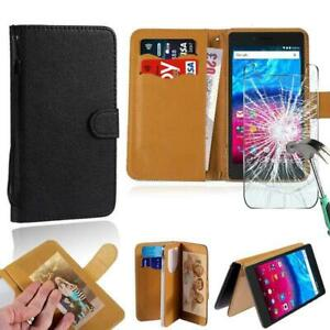 Leather Stand Wallet Case + Tempered Glass Screen Protector For ARCHOS Phones