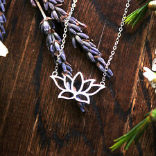 925 Sterling Silver Cut Out Open Flower Lotus Silver Necklace Pendant Spiritual