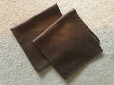 """Two brown cloth napkins, 17.5"""" square, shimmery fabric."""