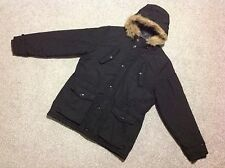 NEXT THIN PADDED QUILTED MOUNTAIN PARKA JACKET WITH HOOD IN BLACK SIZE LARGE