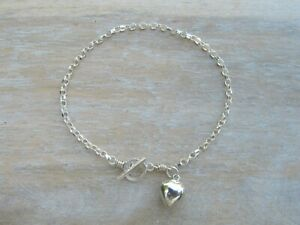 Solid Sterling Silver Belcher / Rolo Chain Toggle Bracelet with Heart Charm