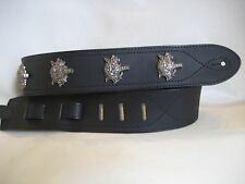 UNIQUE BLACK LEATHER WITH WOLF CONCHOS GUITAR/BASS STRAP