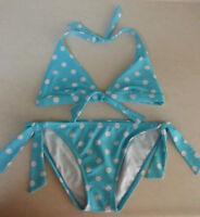 HOBIE Swimwear Bikini 2 Piece Aqua Blue White Polka Dot Top M Bottom L