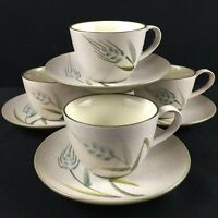 Lot of 4 VTG Cups and Saucers Sears Wild Rice Green Stoneware Wheat 4103 Japan