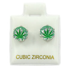 Mens Silver 7mm Round Surgical Steel Clear CZ Hip Hop Green Leaf Stud Earrings