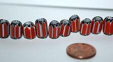 10 X rote chevron Perlen / beads