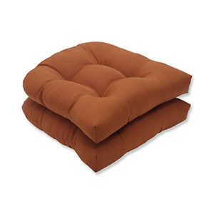 """Pillow Perfect Outdoor/Indoor Cinnabar Tufted Seat Cushions Round Back, 19"""" x 2"""