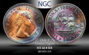 1960 SOUTH AFRICA 1 PENNY NGC MS 66* RB STAR ONLY 2 GRADED HIGHER ***TONED***