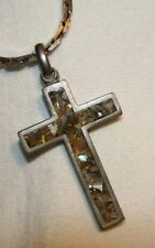 Handsome Heavy Grey Marbled Pewter Cross Necklace  ++++