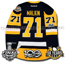 a063cd4f EVGENI MALKIN PITTSBURGH PENGUINS 2017 STANLEY CUP JERSEY REEBOK 100TH 50TH  NEW