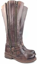 Bed Stu 'Tango' Teak Rust Distressed Leather Double Zip Moto Tall Boots sz: US 6