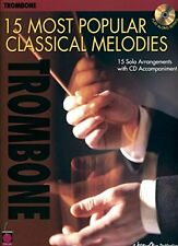 """15 MOST POPULAR CLASSICAL MELODIES"" FOR ""TROMBONE"" MUSIC BOOK/CD-NEW ON SALE!!"