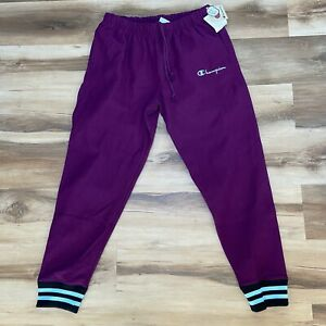 Champion Jogger Sweatpants Men's Reverse Weave Purple Script Logo Size Large