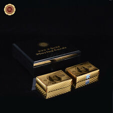 24K Gold Foil Poker Playing Cards $100 Design 2 Deck /w Wood Box & Certificate