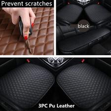 3Pcs/set Universal Full Set Car Seat Covers PU Leather Front Rear Cushion Black