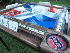 Domino Tables by Art with Bandera Dominicana and Boston Red Sox Cupholders