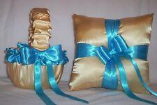 LIGHT GOLD SATIN / TURQUOISE BLUE TRIM FLOWER GIRL BASKET & RING BEARER PILLOW
