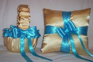 LIGHT GOLD SATIN / TURQUOISE BLUE TRIM FLOWER GIRL BASKET & RING BEARER PILLOW