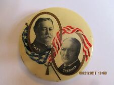 "1908 Cello Button Pin 2 1/8"" William H Taft & Sherman Jugate TAF2 - HAKE $540"