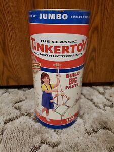 Vintage Tinker Toys 102 pc Jumbo Builder Set-- Wood Rods & Connectors