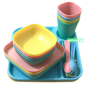 Kids Colorful Dinner Set 24 Piece Bowls Plates Tumblers Trays Spoons & Forks