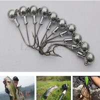 10 Pcs Jig Round Heads Head With Barb Eagle Claw Hooks 4/0 to #4 All Size